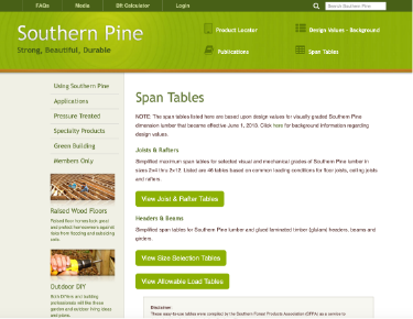 screenshot of Southern Pine website