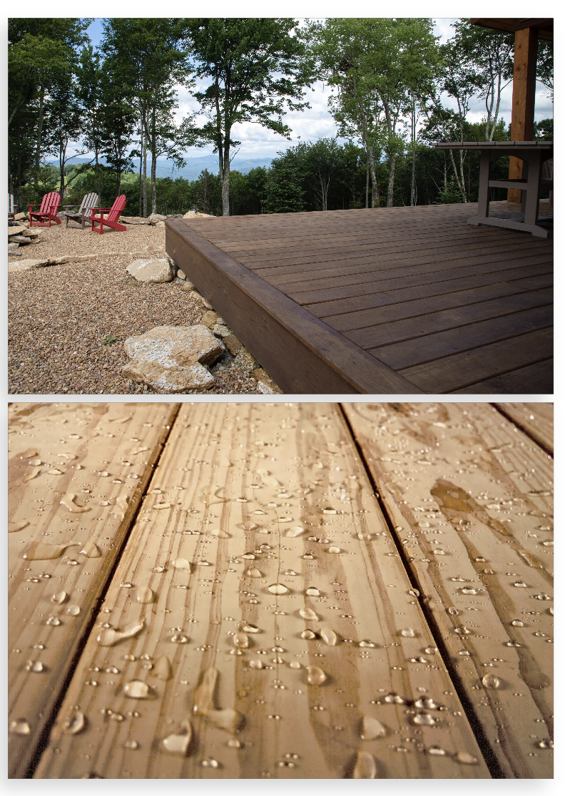 water resistant wooden patio decking with water droplets